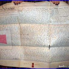 Manuscritos antiguos: ANTIGUO MANUSCRITO INGLÉS EN PERGAMINO DE 77 X 59 CM. CON 2 SELLOS ROJOS LACRADOS Y CROQUIS.. Lote 112932331