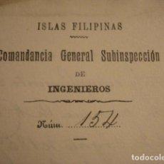 Manuscritos antiguos: GUERRA DE FILIPINAS - ESPAÑA - RARA CARTA MANUSCRITA COMANDANTE GENERAL INGENIEROS AÑO 1898. Lote 112939319