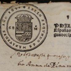 Manuscritos antiguos: ALMANSA ALBACETE 1637 MANUSCRITO RARO SELLO FISCAL 2° TIMBROLOGÍA AÑO 1º MUNDIAL. Lote 112967259