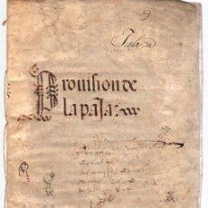 Manuscritos antiguos: TRASLADO AUTORIZADO DE PROVISION DEL REY D. FERNANDO EL CATOLICO EXIGIENDO UNA CANTIDAD DE PAJA 1509. Lote 113227006