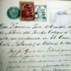 Manuscritos antiguos: VALVERDE DEL CAMINO. ESCRITURAS MANUSCRITAS 1919. PÓLIZA 10ª CLASE 2 PESETAS. Lote 114017723