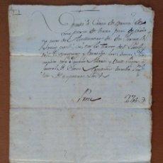 Manuscritos antiguos: ESCRITURA COMPRA VENTA DE UN TERRENO DE VIÑA Y AVELLANOS EN DOSAIGÜES PARTIDA DE LES COMAS. 1780. Lote 114356419