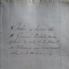 Manuscritos antiguos: VALLADOLID. PODER PARA VENTA DE TIERRAS EN LA NAVA DEL REY 1883. Lote 114899700