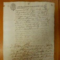 Manuscritos antiguos: TIMBROLOGÍA - DOCUMENTO - SELLO TERCERO - 34 MARAVEDIS - MS - AÑO 1644 - SIGNO NOTARIAL. Lote 114937675