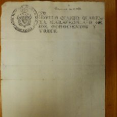 Manuscritos antiguos: TIMBROLOGÍA - DOCUMENTO - SELLO CUARTO - 40 MARAVEDIS - MS - AÑO 1813 - SIGNO NOTARIAL EN REVERSO. Lote 114938007