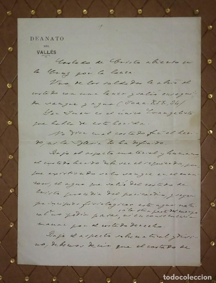 Manuscritos antiguos: 1907 Manuscrito. Deanato del Valles. Granollers - Foto 2 - 115095055