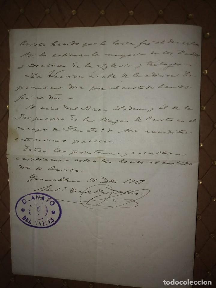 Manuscritos antiguos: 1907 Manuscrito. Deanato del Valles. Granollers - Foto 3 - 115095055