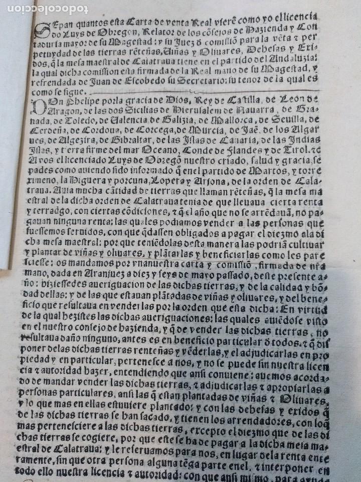 ANDALUCIA. IMPRESO Y MANUSCRITO DEL SIGLO XVI. VENTA REAL DE FELIPE II Y SECRETARÍO JUAN DE ESCOBEDO (Coleccionismo - Documentos - Manuscritos)