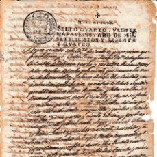 Manuscritos antiguos: 1764 VALENCIA FISCAL 4º DE 20 MRS. DOCUMENTO MANUSCRITO PAPEL SELLADO PAGO RENTA DE 8%. Lote 116130735