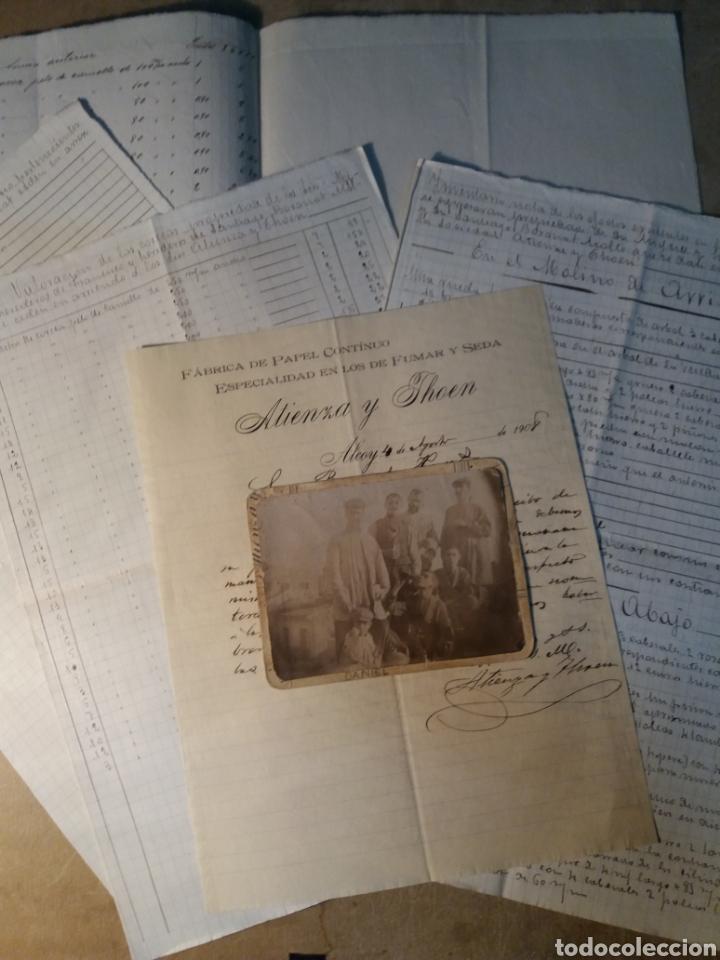 PAPEL DE FUMAR ATIENZA Y THOEN , VARIOS DOCUMENTOS Y FOTO. (Coleccionismo - Documentos - Manuscritos)