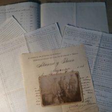 Manuscritos antiguos: PAPEL DE FUMAR ATIENZA Y THOEN , VARIOS DOCUMENTOS Y FOTO.. Lote 116202106