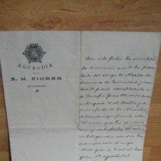 Manuscritos antiguos: CARTA MANUSCRITA Y FIRMADA POR D.FELIX CERRADA , ALCALDE DE ZARAGOZA EN 1905. Lote 116855275