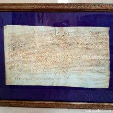 Manuscritos antiguos: MUY ANTIGUO MANUSCRITO EN PERGAMINO ENMARCADO. Lote 117014615