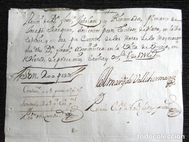 AÑO 1718. OSUNA, SEVILLA. RECIBO FIRMANDO POR EL MARQUÉS DE VALLEHERMOSO (Coleccionismo - Documentos - Manuscritos)