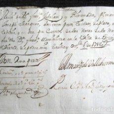 Manuscritos antiguos: AÑO 1718. OSUNA, SEVILLA. RECIBO FIRMANDO POR EL MARQUÉS DE VALLEHERMOSO. Lote 117044891