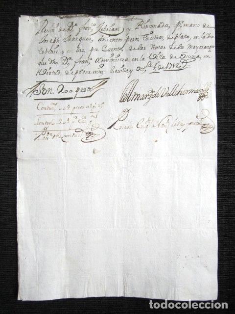 Manuscritos antiguos: AÑO 1718. OSUNA, SEVILLA. RECIBO FIRMANDO POR EL MARQUÉS DE VALLEHERMOSO - Foto 2 - 117044891