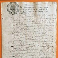 Manuscritos antiguos: GRANADA- MANUSCRITO AÑO 1.660- SELLO FISCAL 3º 34 MARAVEDIES. Lote 117120051