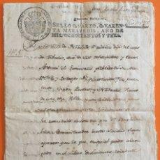 Manuscritos antiguos: NOVELDA- ALICANTE- MANUSCRITO AÑO 1.803- SELLO FISCAL 4º 40 MARAVEDIES. Lote 117126075