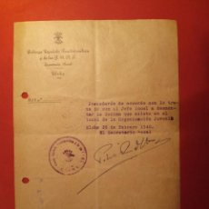 Manuscritos antiguos: ELCHE - FALANGE SECRETARIA LOCAL AÑO 1940 - DOCUMENTO ORIGINAL . Lote 118174999