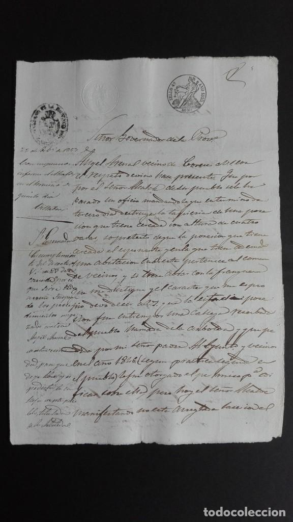 PAPEL TIMBRADO SELLO DE OFICIO 4° 40 MS. 1853 CORESES ZAMORA (Coleccionismo - Documentos - Manuscritos)