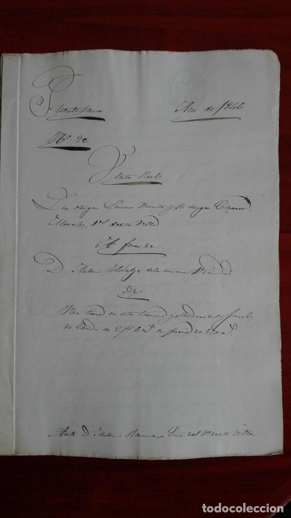 PAPEL TIMBRADO SELLO DE OFICIO MANUSCRITO DE 1846 DE UNA COMPRAVENTA EN FUENTESAUCO, ZAMORA (Coleccionismo - Documentos - Manuscritos)