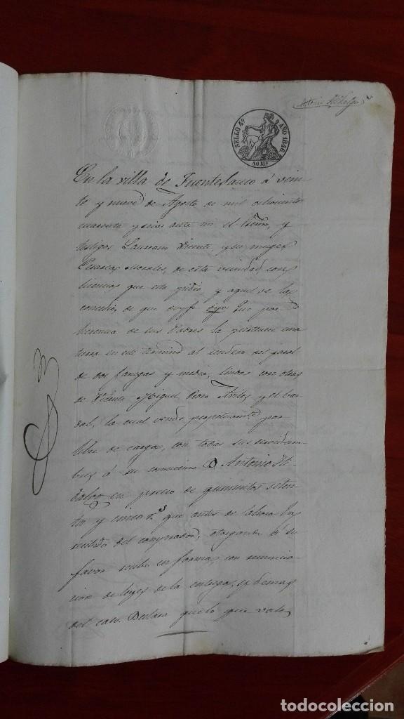 Manuscritos antiguos: PAPEL TIMBRADO SELLO DE OFICIO MANUSCRITO DE 1846 DE UNA COMPRAVENTA EN FUENTESAUCO, ZAMORA - Foto 2 - 118817671