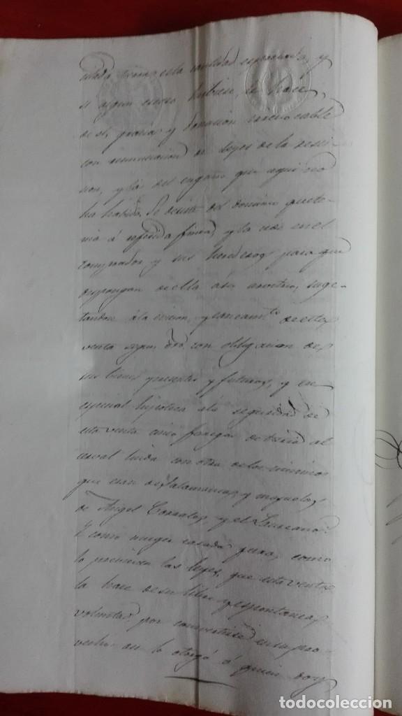 Manuscritos antiguos: PAPEL TIMBRADO SELLO DE OFICIO MANUSCRITO DE 1846 DE UNA COMPRAVENTA EN FUENTESAUCO, ZAMORA - Foto 3 - 118817671