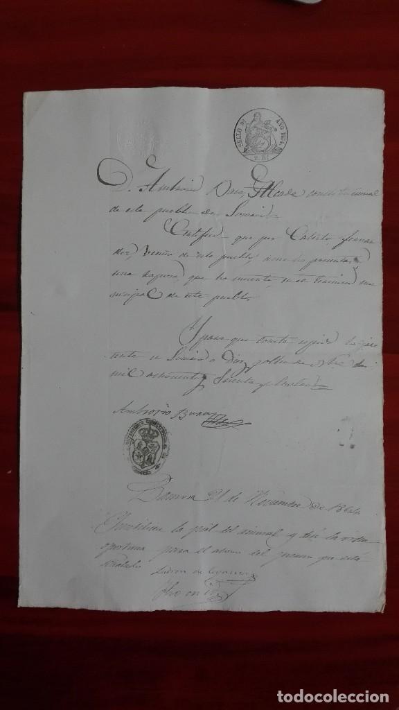 PAPEL TIMBRADO SELLO DE OFICIO 9° DE 2 RS. 1864 LOSACIO ZAMORA (Coleccionismo - Documentos - Manuscritos)