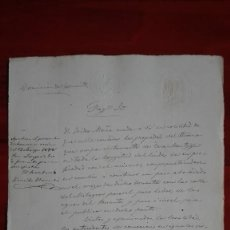 Manuscritos antiguos: DOCUMENTO PARA LA SOLICITUD A FOMENTO DE UN PASO ABOVEDADO PARA EL PASO DE UN TORRENTE 1888. Lote 118827363