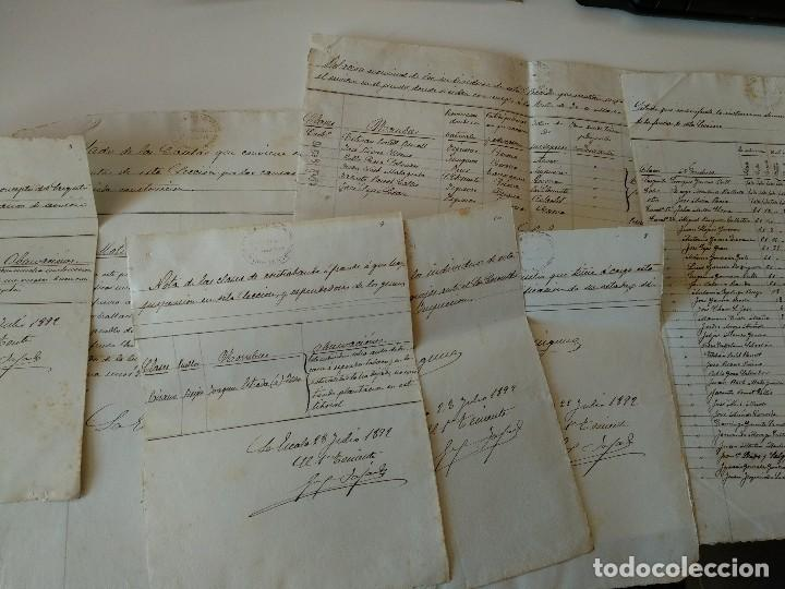8 DOCUMENTOS MANUSCRITOS FINAL SIGLO XIX , PROBABLE L'ESCALA, GIRONA (Coleccionismo - Documentos - Manuscritos)