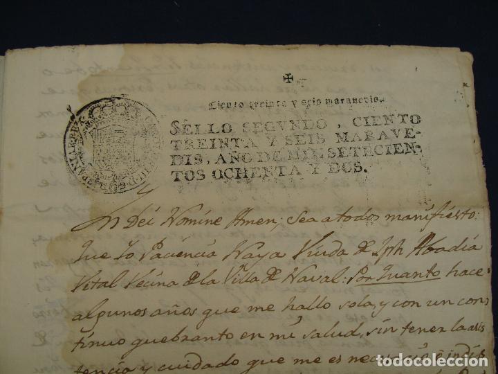 SELLO SEGUNDO 1782, NAVAL, HUESCA. DONACIÓN/TESTAMENTO DE SUS BIENES (Coleccionismo - Documentos - Manuscritos)