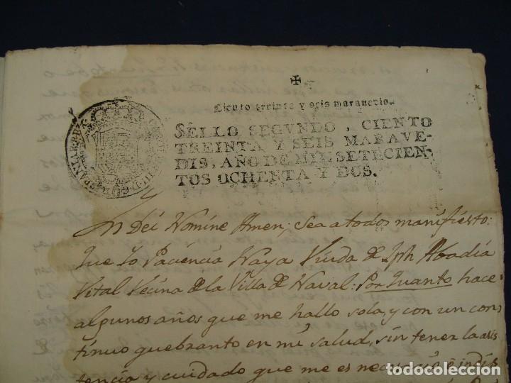 Manuscritos antiguos: SELLO SEGUNDO 1782, NAVAL, HUESCA. DONACIÓN/TESTAMENTO DE SUS BIENES - Foto 2 - 120949531