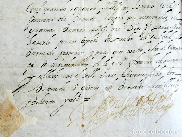 Manuscritos antiguos: AÑO 1682. OSTENDE, BÉLGICA. CERTIFICADO DON DIEGO DE RADA Y ALVARADO. LAREDO. FIRMA Y SELLO PLACADO. - Foto 2 - 121145695