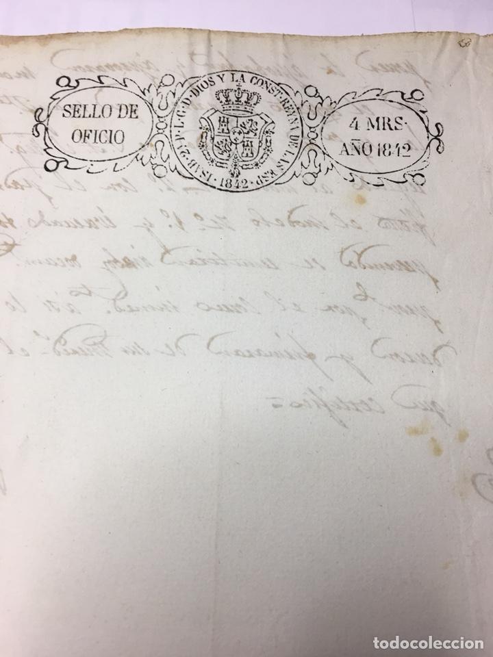 ISABEL II 1842. MANUSCRITO. PAPEL SELLADO O TIMBRADO. SELLO OFICIO 4 MARAVEDIS (Coleccionismo - Documentos - Manuscritos)