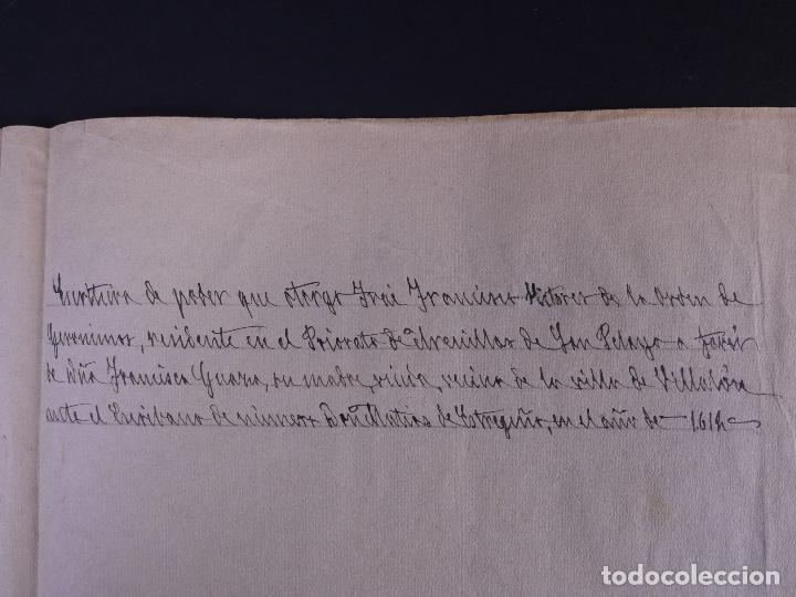 Manuscritos antiguos: ESCRITURA DE PODER, ARENILLAS DE SAN PELAYO 1614 - Foto 3 - 121605595