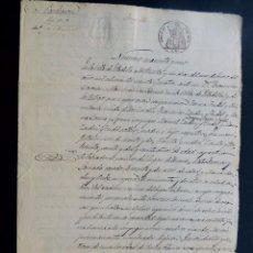 Manuscritos antiguos: MANUSCRITO 1864 / SELLO 8º / VENTA DE UNA HEREDAD DE TIERRA BLANCA / FIRMADO ESTADILLA / HUESCA. Lote 121622799