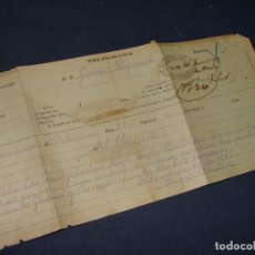 Manuscritos antiguos: CUBA. GUERRAS MAMBISES. PARTIDAS INSURGENTES. TELEGRAMA AL GOBERNADOR CON MOVIMIENTOS REBELDES. 1896. Lote 121647651