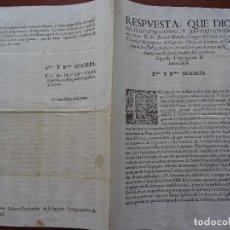 Manuscritos antiguos: RESPUESTA DE FRAY JUAN DE BONILLA Y VARGAS AL PAPA CLEMENTE XI. Lote 122193763