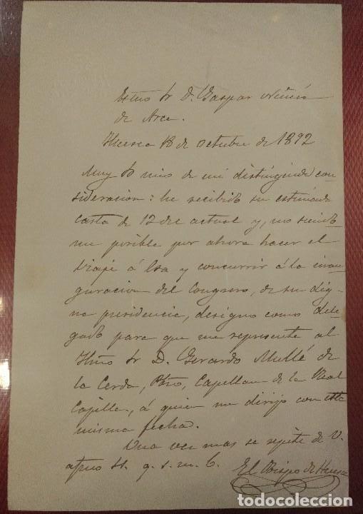 DOCUMENTO Y FIRMA DEL OBISPO DE HUESCA NACIDO EN CALMARZA (ZARAGOZA) VICENTE ALDA Y SANCHO (Coleccionismo - Documentos - Manuscritos)