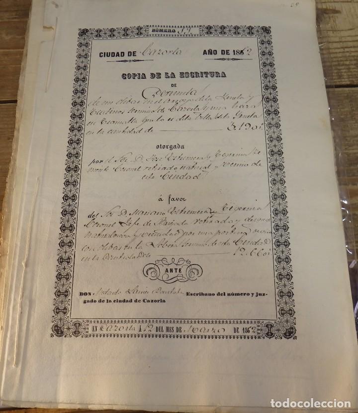 CAZORLA, 1862, ESCRITURA DE PERMUTA DE UN OLIVAR (Coleccionismo - Documentos - Manuscritos)