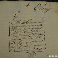 Manuscritos antiguos: VILLAMAYOR, ZARAGOZA. SELLO 3º 1824. ESCRITURA TRIBUTACIÓN DE UN CAMPO DE VILLAMAYOR.. Lote 125079427
