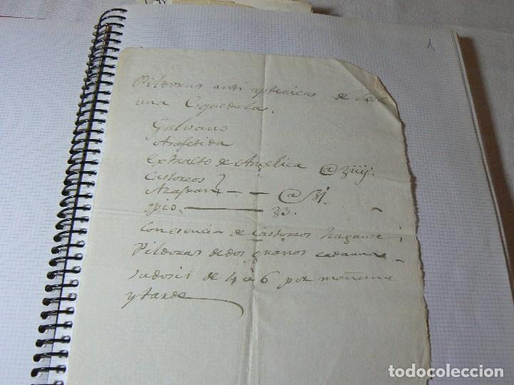 MANUSCRITO ANTIGUO SIGLO XIX RECETA MEDICA ALQUIMIA (Coleccionismo - Documentos - Manuscritos)
