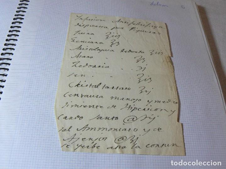 MANUSCRITO ANTIGUO SIGLO XIX RECETA MEDICA ALQUIMIA C (Coleccionismo - Documentos - Manuscritos)