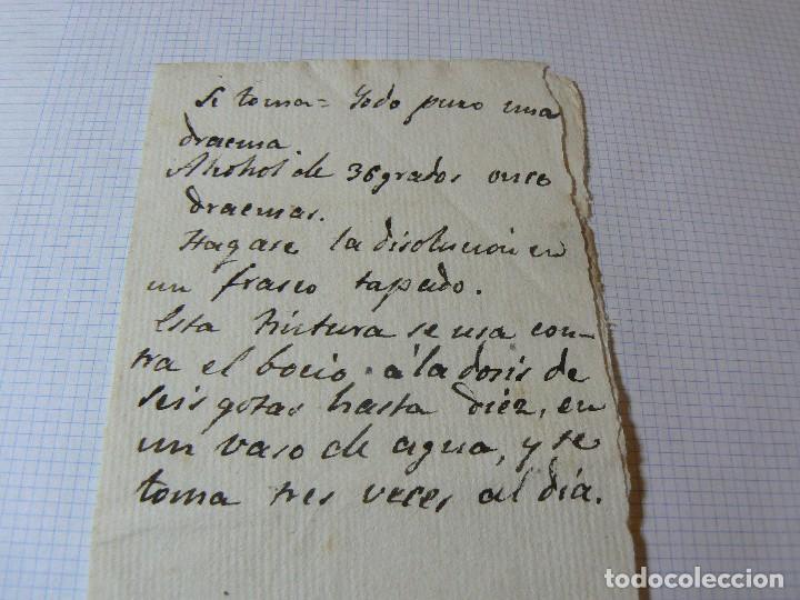 MANUSCRITO ANTIGUO SIGLO XIX RECETA MEDICA ALQUIMIA B (Coleccionismo - Documentos - Manuscritos)