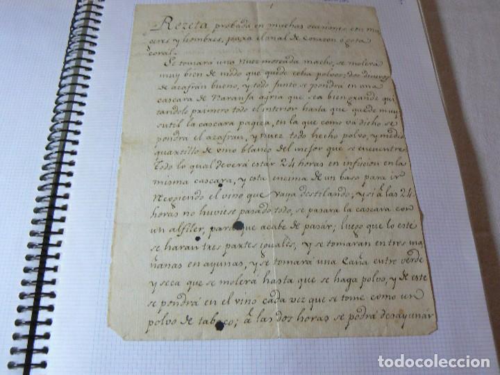 MANUSCRITO ANTIGUO SIGLO XIX RECETA MEDICA ALQUIMIA PARA EL MAL DE CORAZON (Coleccionismo - Documentos - Manuscritos)
