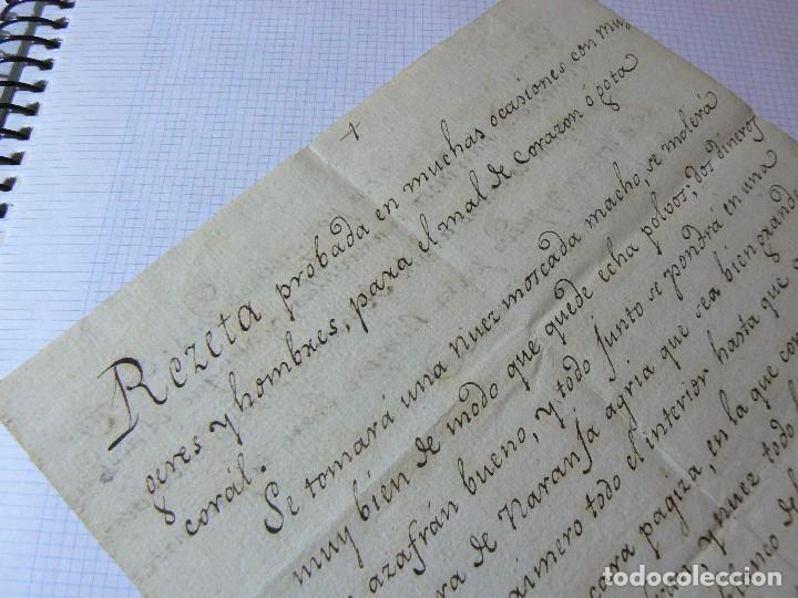 Manuscritos antiguos: MANUSCRITO ANTIGUO SIGLO XIX RECETA MEDICA ALQUIMIA PARA EL MAL DE CORAZON - Foto 3 - 125198211