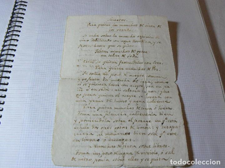 MANUSCRITO ANTIGUO SIGLO XIX RECETA MEDICA ALQUIMIA RECETA COMO QUITAR LAS MANCHAS A LOS VESTIDO (Coleccionismo - Documentos - Manuscritos)