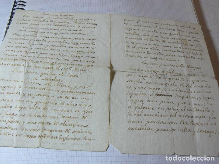 Manuscritos antiguos: MANUSCRITO ANTIGUO SIGLO XIX RECETA MEDICA ALQUIMIA RECETA COMO QUITAR LAS MANCHAS A LOS VESTIDO - Foto 2 - 125198319