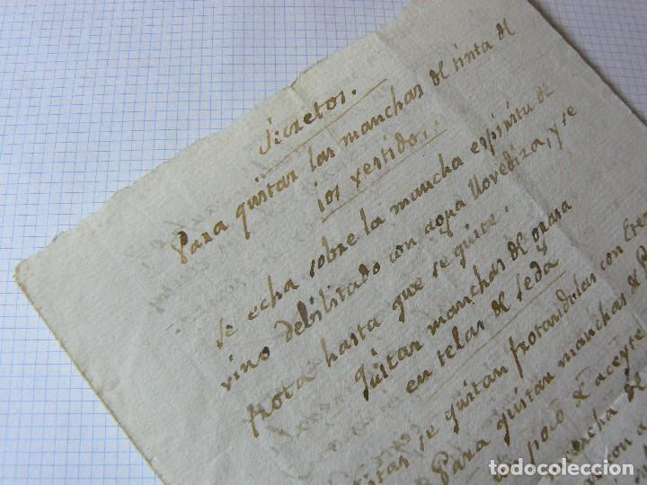 Manuscritos antiguos: MANUSCRITO ANTIGUO SIGLO XIX RECETA MEDICA ALQUIMIA RECETA COMO QUITAR LAS MANCHAS A LOS VESTIDO - Foto 3 - 125198319