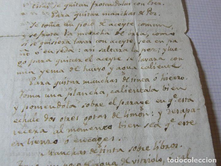 Manuscritos antiguos: MANUSCRITO ANTIGUO SIGLO XIX RECETA MEDICA ALQUIMIA RECETA COMO QUITAR LAS MANCHAS A LOS VESTIDO - Foto 4 - 125198319